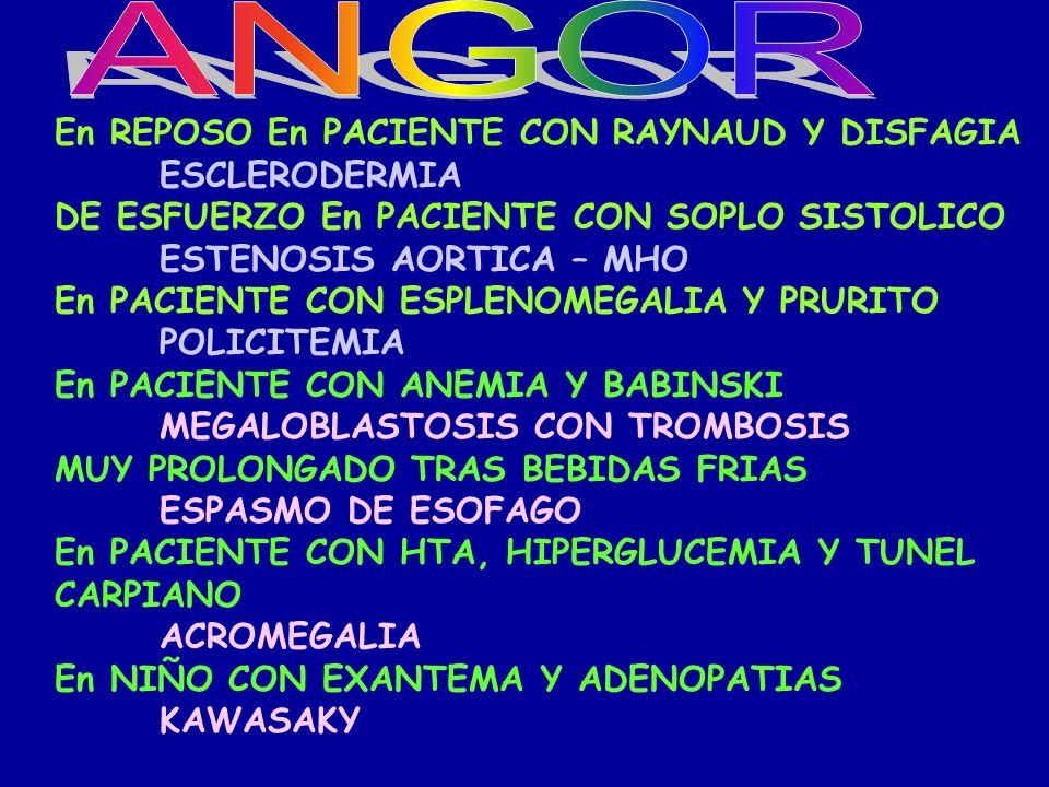 ANGOR En REPOSO En PACIENTE CON RAYNAUD Y DISFAGIA ESCLERODERMIA
