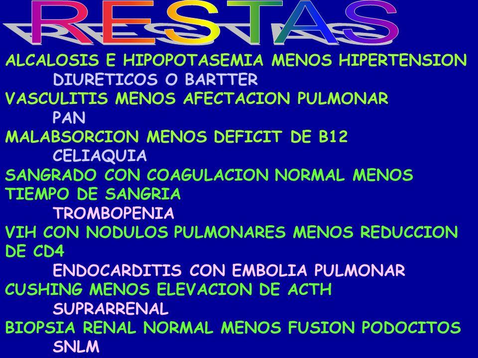 RESTAS ALCALOSIS E HIPOPOTASEMIA MENOS HIPERTENSION