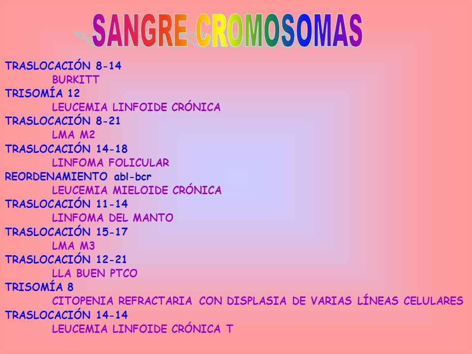 SANGRE CROMOSOMAS TRASLOCACIÓN 8-14 BURKITT TRISOMÍA 12