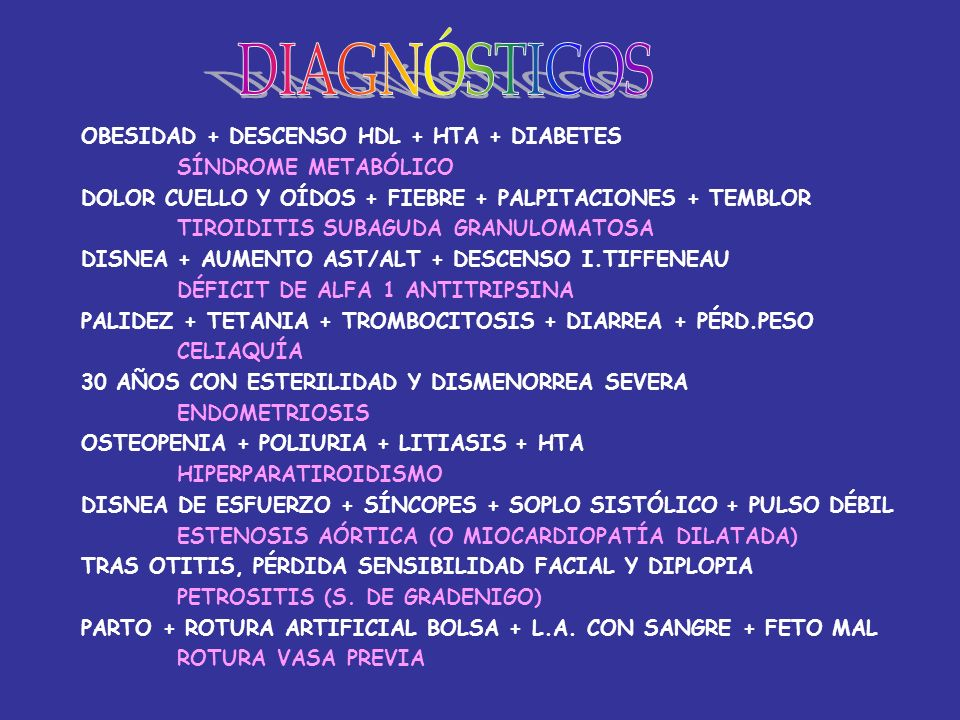 DIAGNÓSTICOS OBESIDAD + DESCENSO HDL + HTA + DIABETES