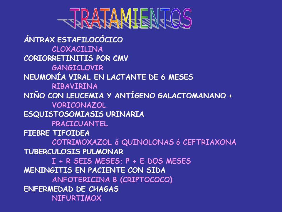 TRATAMIENTOS ÁNTRAX ESTAFILOCÓCICO CLOXACILINA CORIORRETINITIS POR CMV