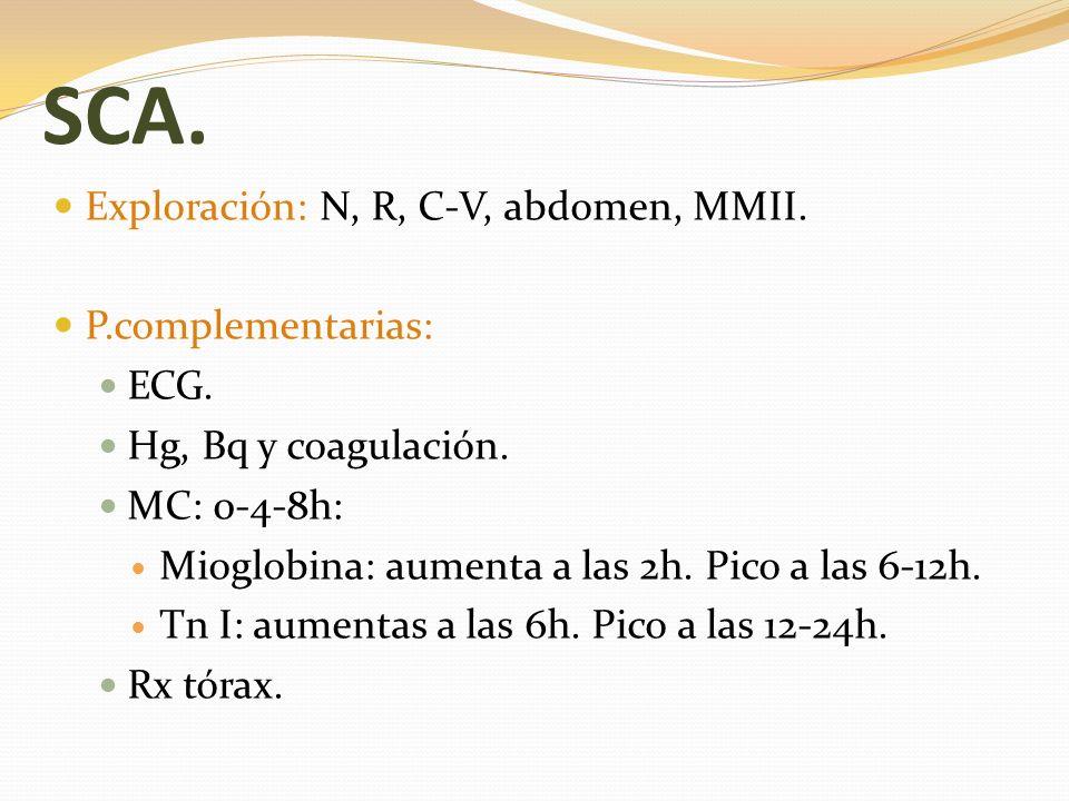 SCA. Exploración: N, R, C-V, abdomen, MMII. P.complementarias: ECG.