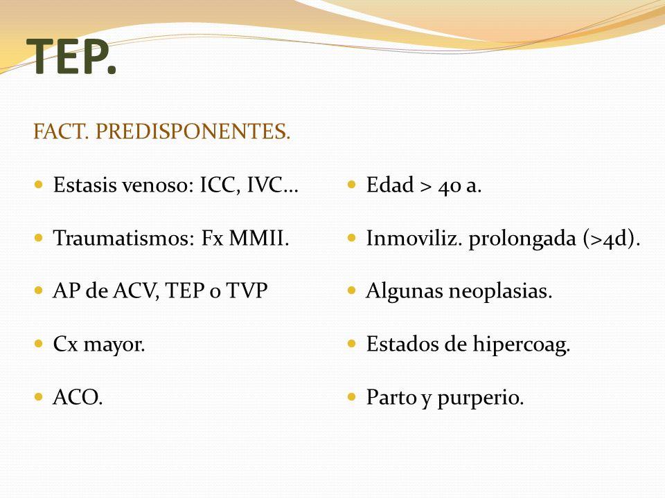 TEP. FACT. PREDISPONENTES. Estasis venoso: ICC, IVC… Edad > 40 a.