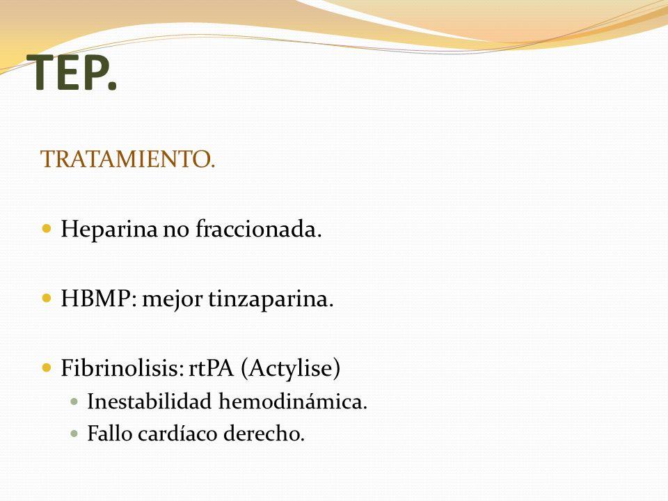 TEP. TRATAMIENTO. Heparina no fraccionada. HBMP: mejor tinzaparina.