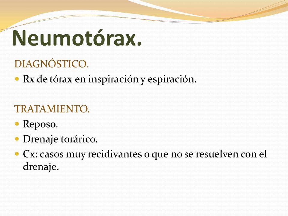 Neumotórax. DIAGNÓSTICO. Rx de tórax en inspiración y espiración.