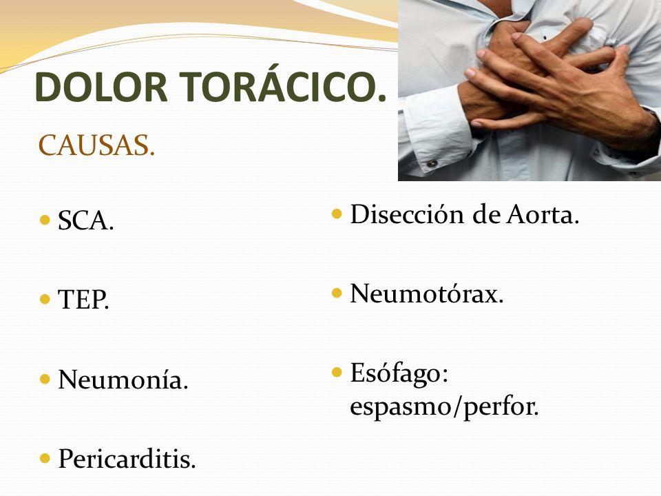 DOLOR TORÁCICO. CAUSAS. Disección de Aorta. SCA. Neumotórax. TEP.