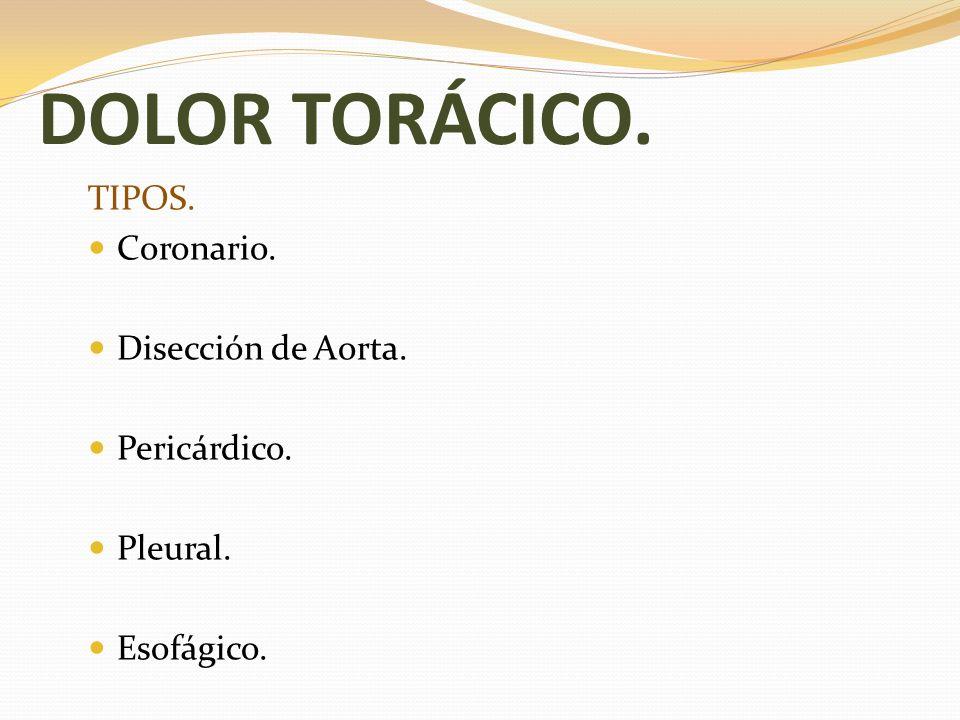 DOLOR TORÁCICO. TIPOS. Coronario. Disección de Aorta. Pericárdico.
