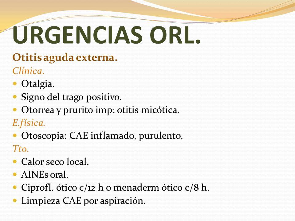 URGENCIAS ORL. Otitis aguda externa. Clínica. Otalgia.