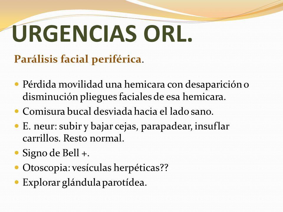 URGENCIAS ORL. Parálisis facial periférica.