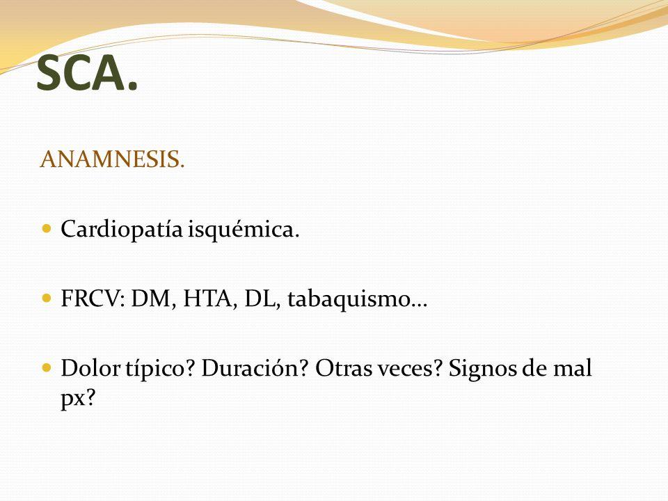 SCA. ANAMNESIS. Cardiopatía isquémica. FRCV: DM, HTA, DL, tabaquismo…