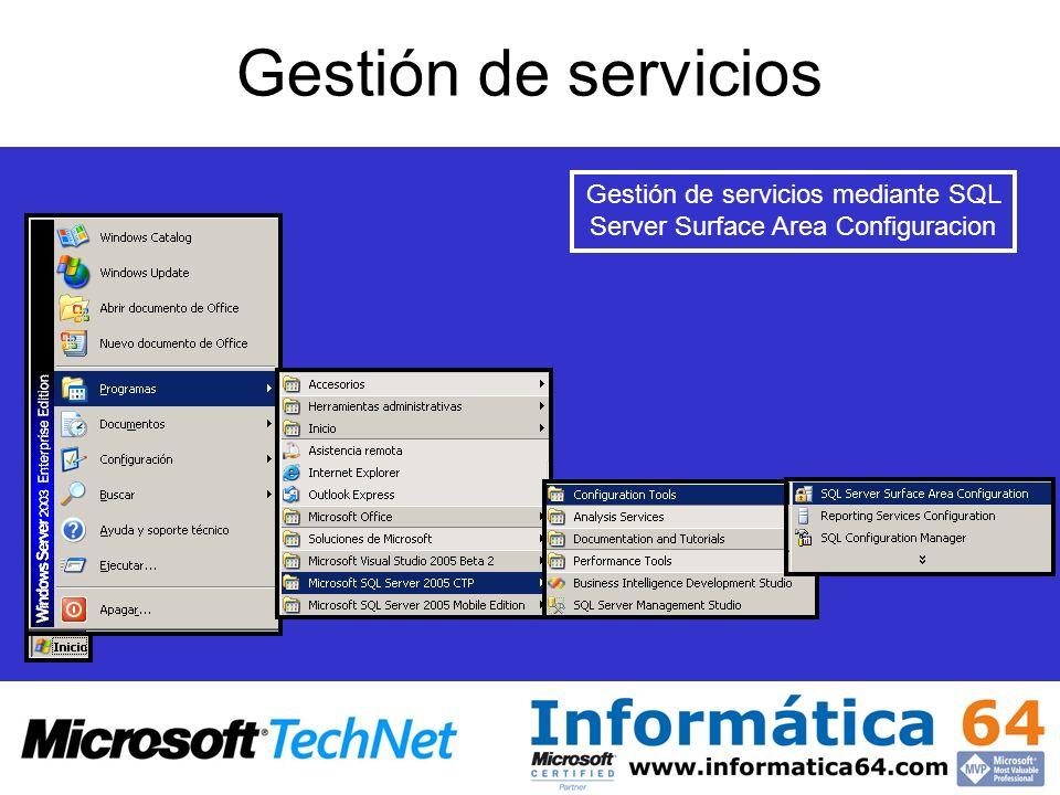 Gestión de servicios mediante SQL Server Surface Area Configuracion