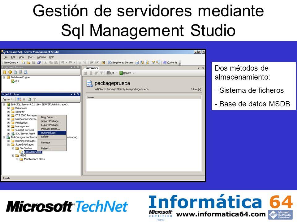 Gestión de servidores mediante Sql Management Studio