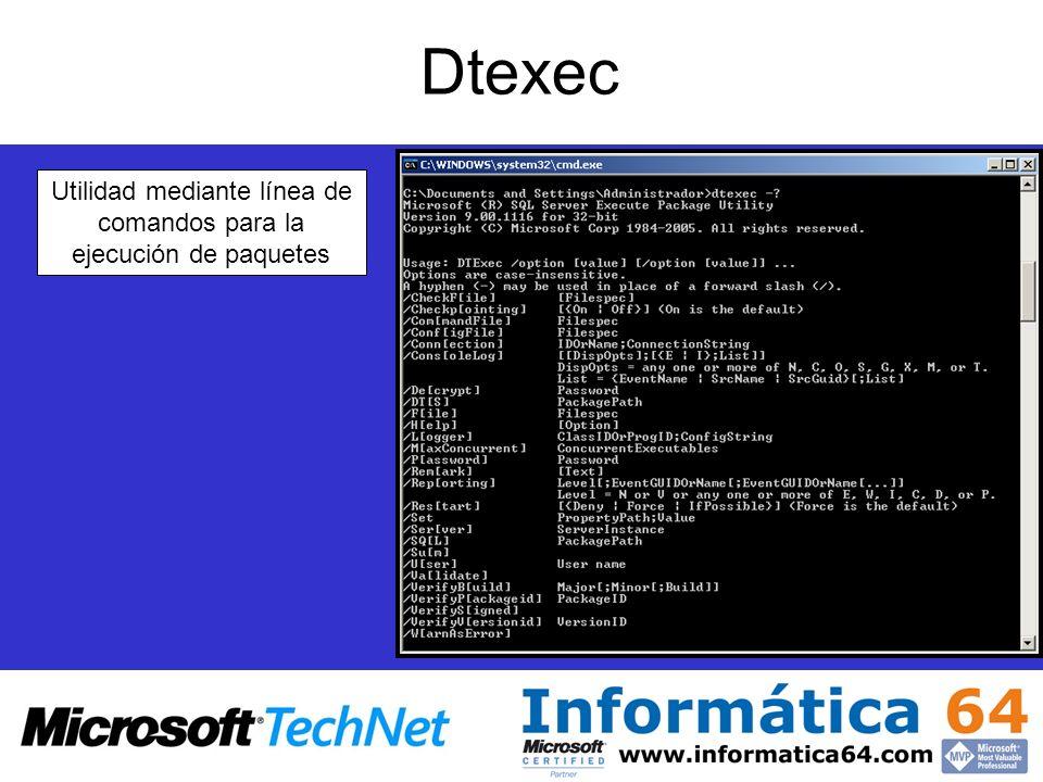 Utilidad mediante línea de comandos para la ejecución de paquetes