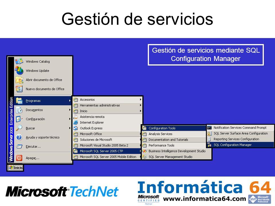 Gestión de servicios mediante SQL Configuration Manager