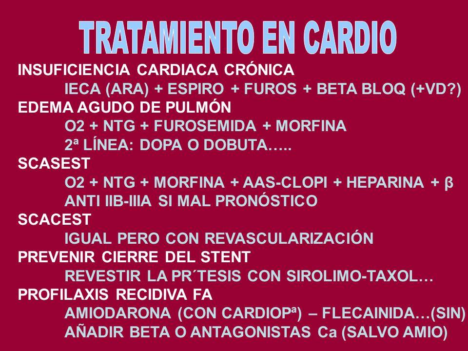 TRATAMIENTO EN CARDIO INSUFICIENCIA CARDIACA CRÓNICA