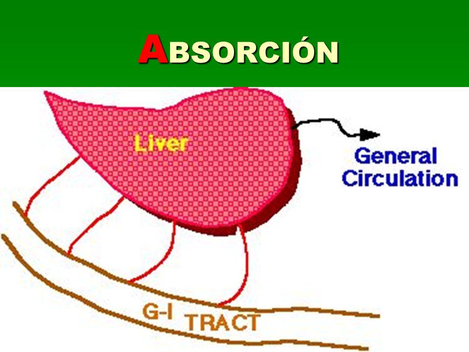 ABSORCIÓN Paso del fármaco al torrente circulatorio BIODISPONIBILIDAD