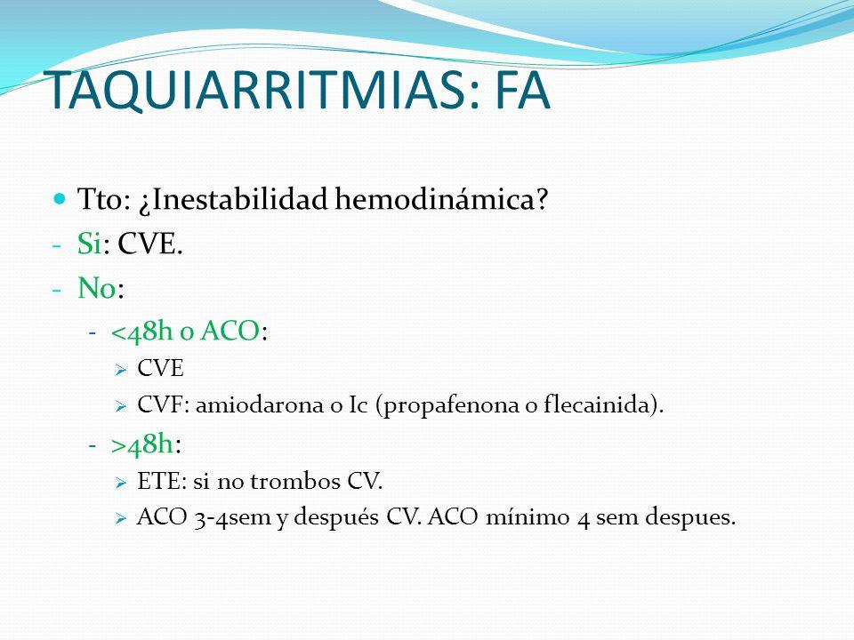 TAQUIARRITMIAS: FA Tto: ¿Inestabilidad hemodinámica Si: CVE. No: