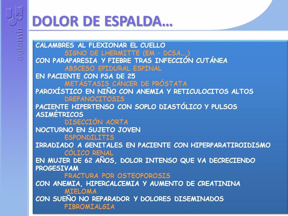 DOLOR DE ESPALDA… CALAMBRES AL FLEXIONAR EL CUELLO