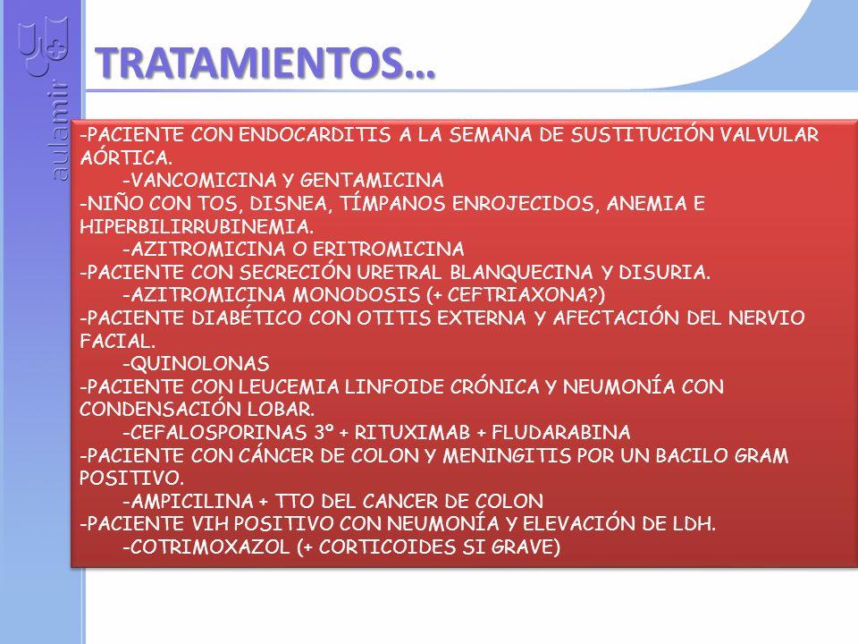 TRATAMIENTOS…PACIENTE CON ENDOCARDITIS A LA SEMANA DE SUSTITUCIÓN VALVULAR AÓRTICA. VANCOMICINA Y GENTAMICINA.