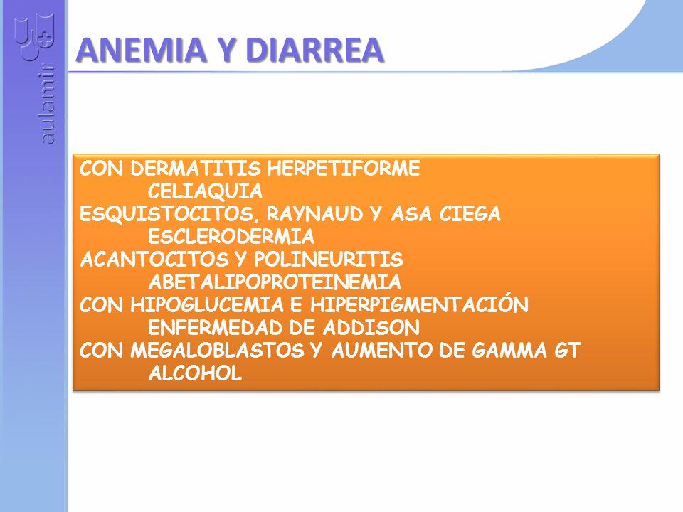 ANEMIA Y DIARREA CON DERMATITIS HERPETIFORME CELIAQUIA