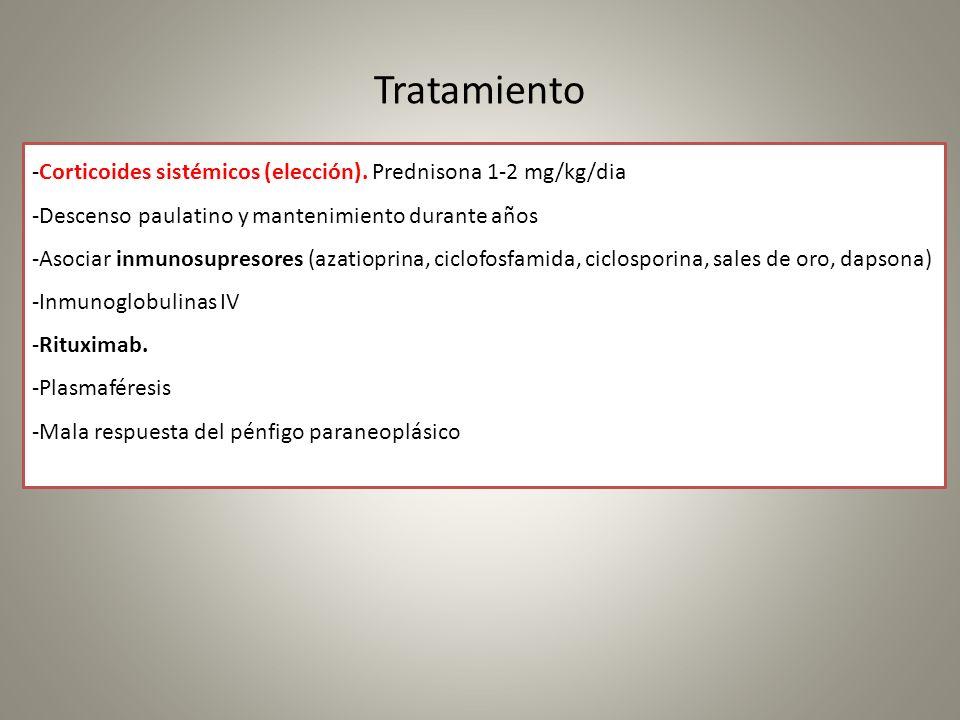 Tratamiento -Corticoides sistémicos (elección). Prednisona 1-2 mg/kg/dia. -Descenso paulatino y mantenimiento durante años.