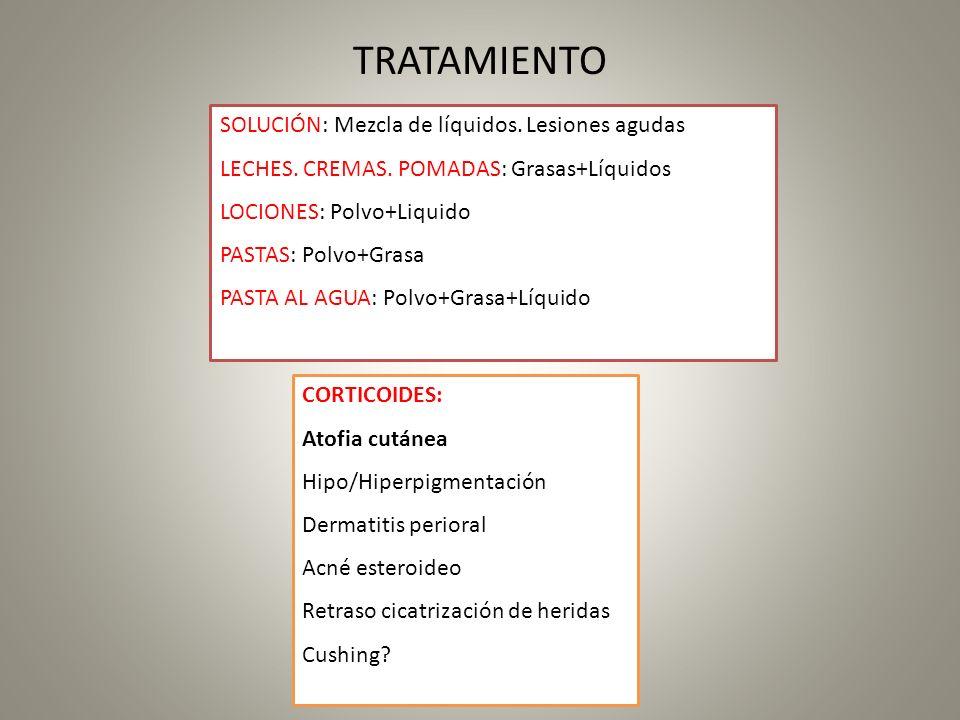 TRATAMIENTO SOLUCIÓN: Mezcla de líquidos. Lesiones agudas