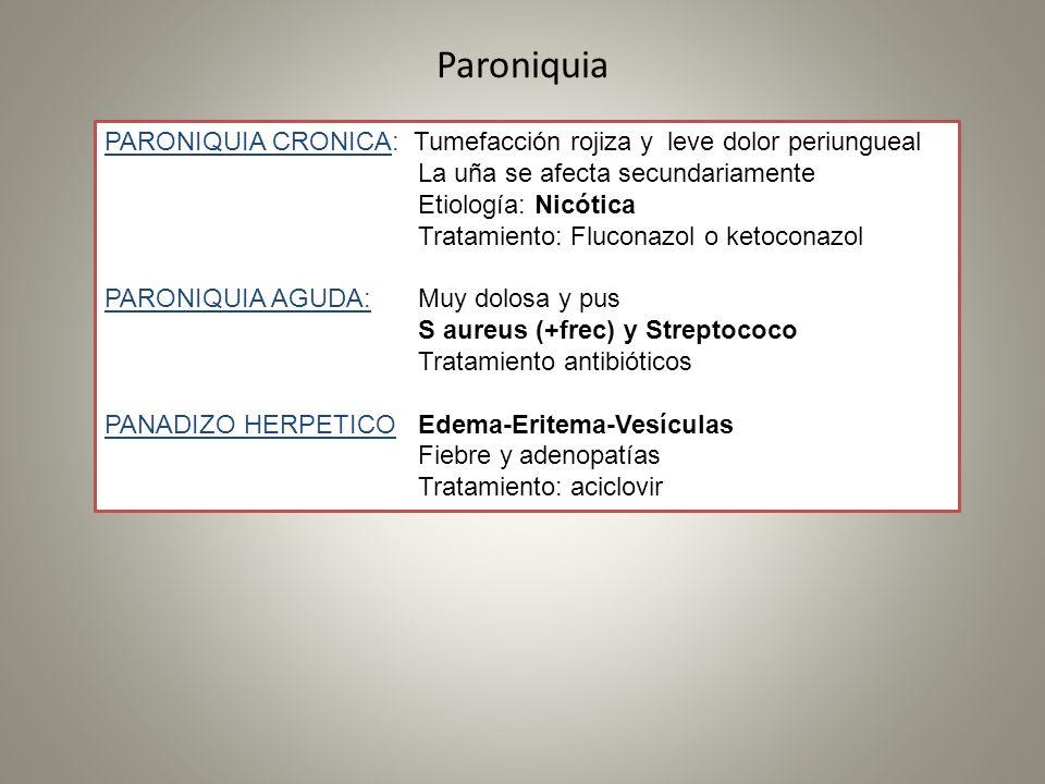 Paroniquia PARONIQUIA CRONICA: Tumefacción rojiza y leve dolor periungueal. La uña se afecta secundariamente.