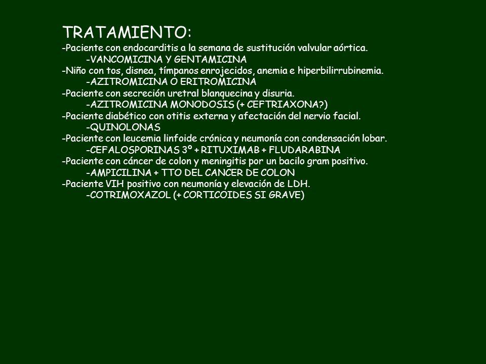 TRATAMIENTO:Paciente con endocarditis a la semana de sustitución valvular aórtica. VANCOMICINA Y GENTAMICINA.