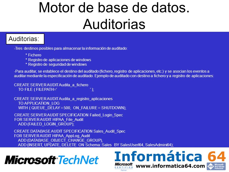 Motor de base de datos. Auditorias