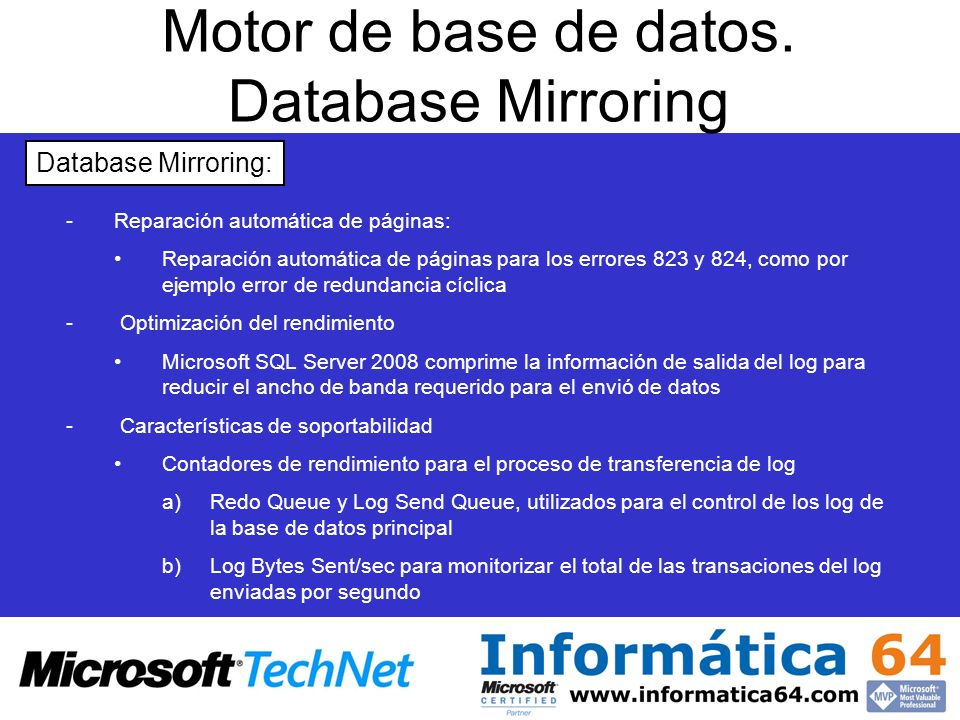 Motor de base de datos. Database Mirroring
