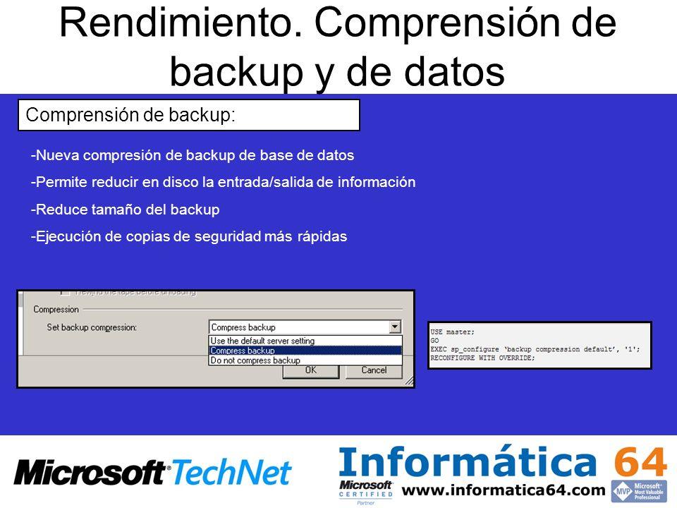 Rendimiento. Comprensión de backup y de datos
