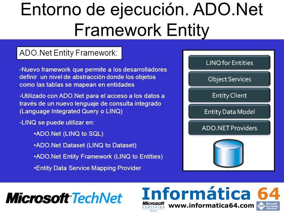 Entorno de ejecución. ADO.Net Framework Entity