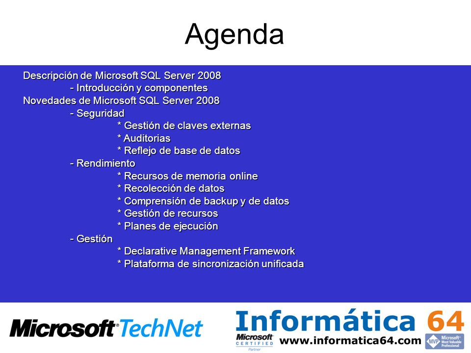 Agenda Descripción de Microsoft SQL Server 2008