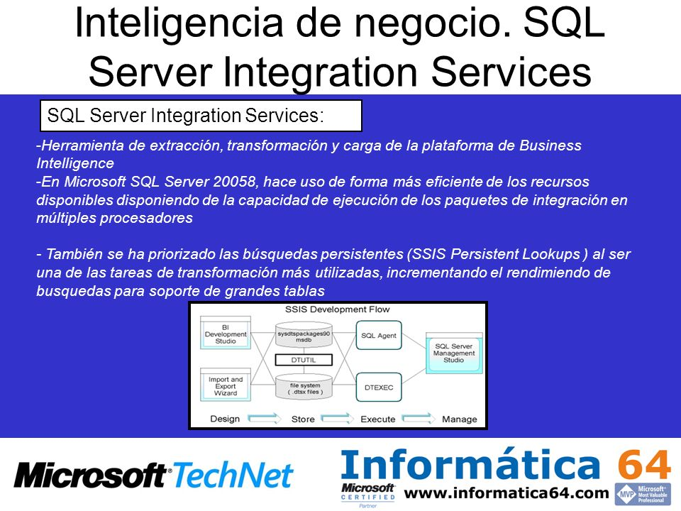 Inteligencia de negocio. SQL Server Integration Services