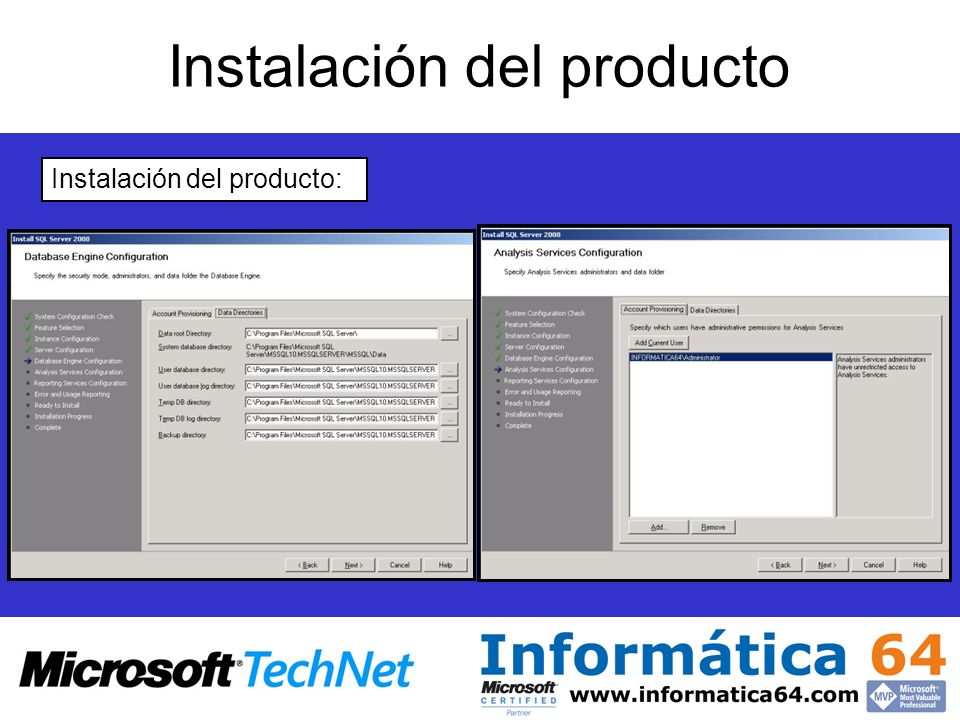 Instalación del producto