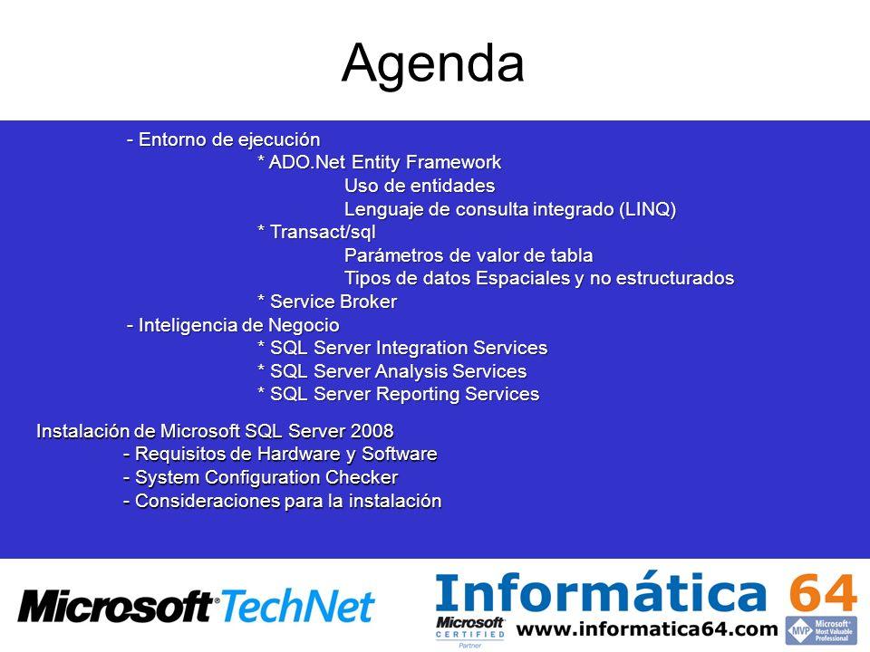 Agenda Entorno de ejecución * ADO.Net Entity Framework