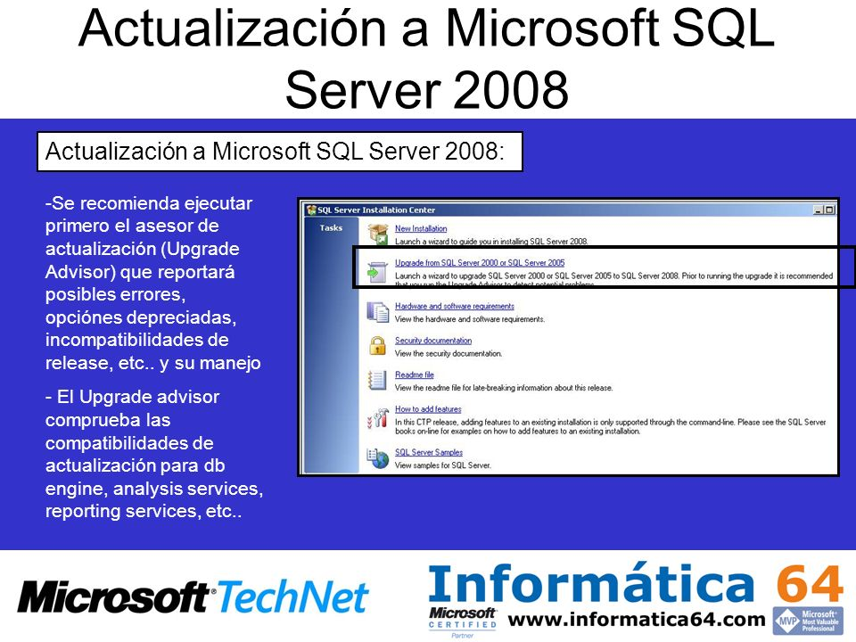 Actualización a Microsoft SQL Server 2008