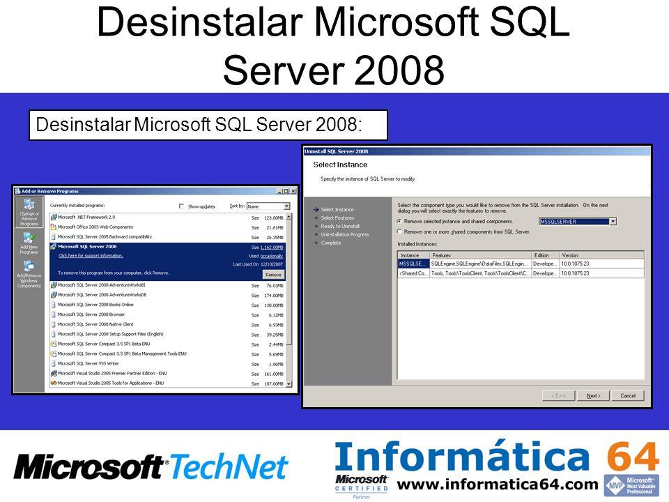 Desinstalar Microsoft SQL Server 2008