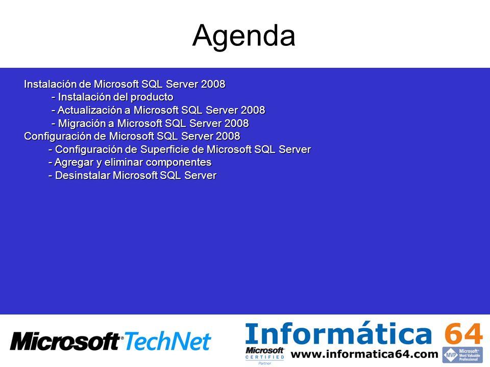 Agenda Instalación de Microsoft SQL Server 2008
