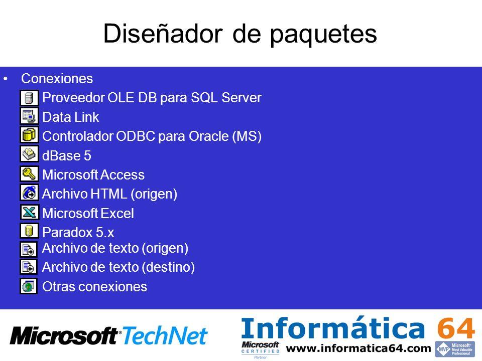Diseñador de paquetes Conexiones Proveedor OLE DB para SQL Server