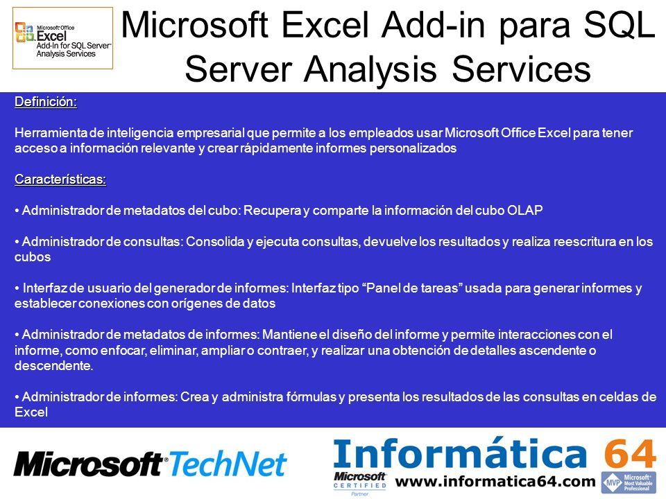 Microsoft Excel Add-in para SQL Server Analysis Services