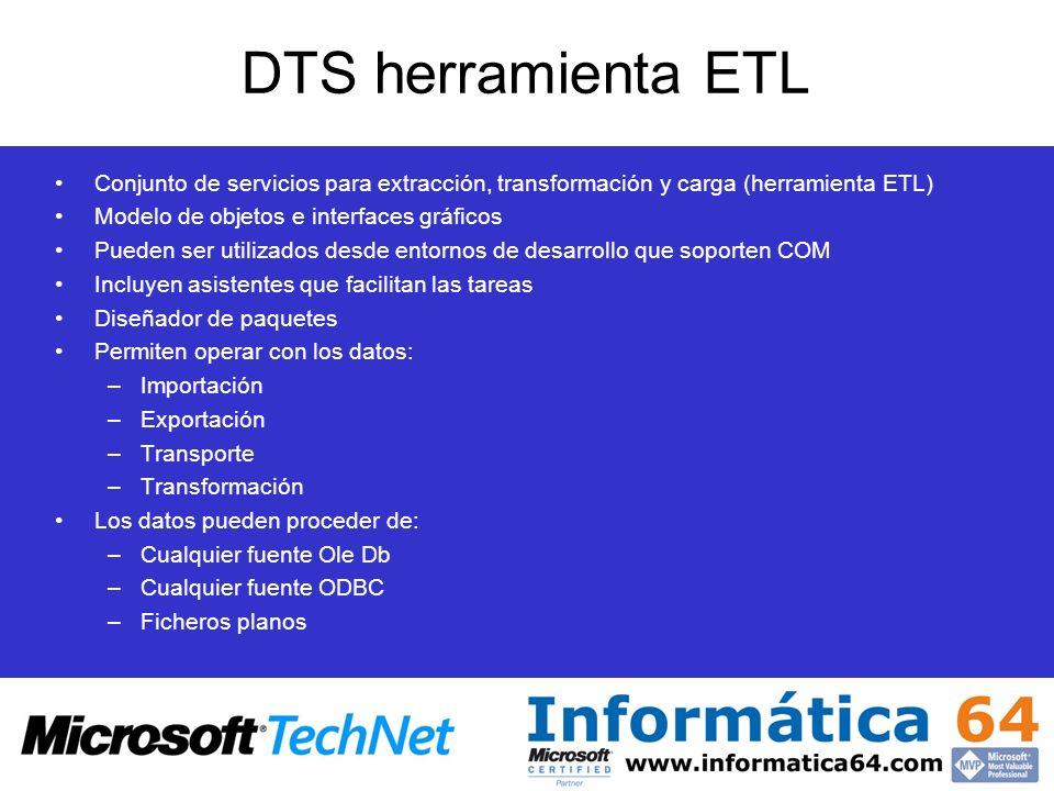 DTS herramienta ETL Conjunto de servicios para extracción, transformación y carga (herramienta ETL)