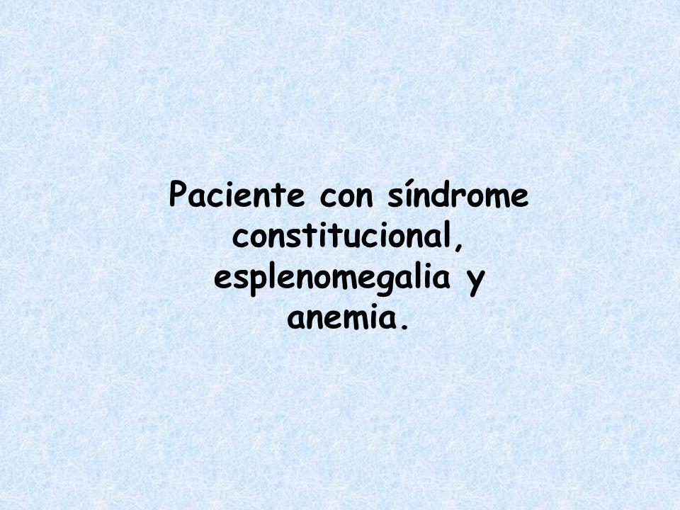 Paciente con síndrome constitucional, esplenomegalia y anemia.