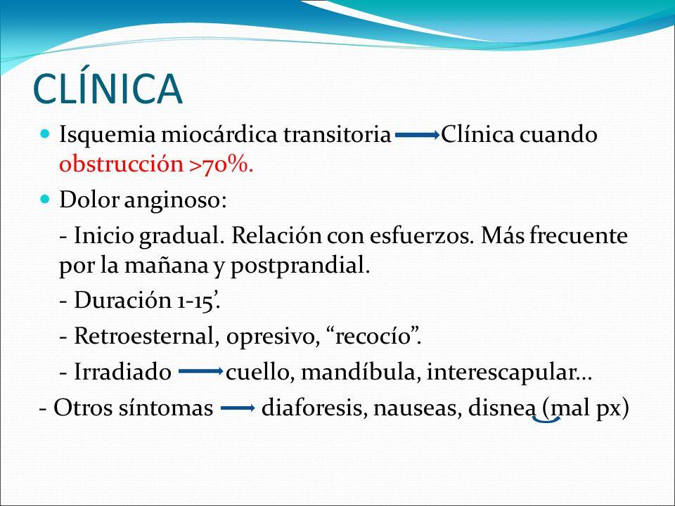 CLÍNICAIsquemia miocárdica transitoria Clínica cuando obstrucción >70%. Dolor anginoso: