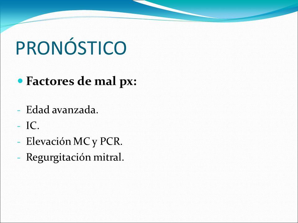 PRONÓSTICO Factores de mal px: Edad avanzada. IC. Elevación MC y PCR.