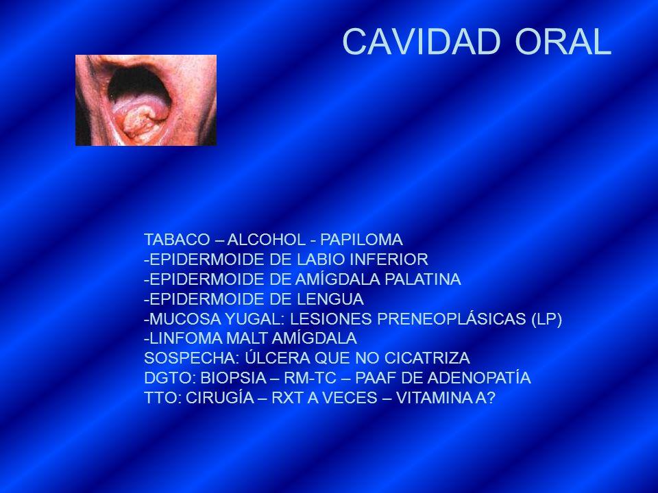CAVIDAD ORAL TABACO – ALCOHOL - PAPILOMA EPIDERMOIDE DE LABIO INFERIOR