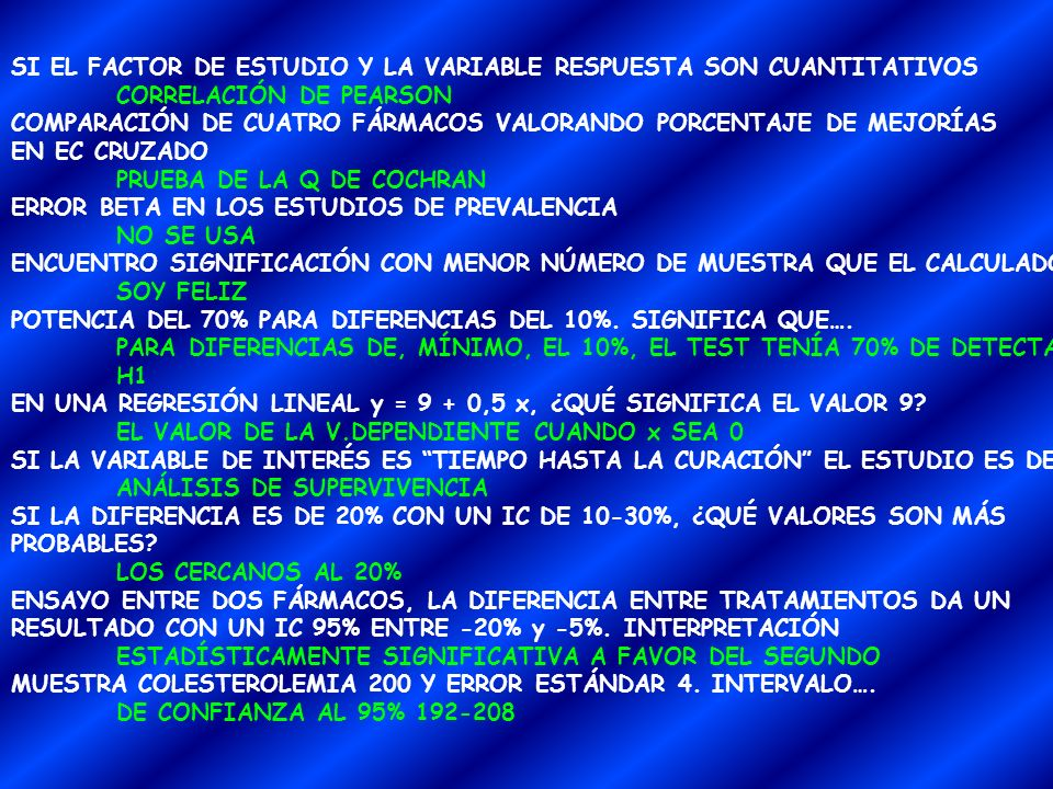 SI EL FACTOR DE ESTUDIO Y LA VARIABLE RESPUESTA SON CUANTITATIVOS