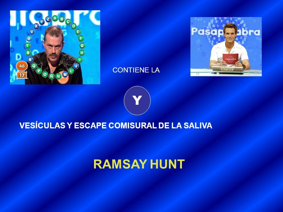 CONTIENE LA Y VESÍCULAS Y ESCAPE COMISURAL DE LA SALIVA RAMSAY HUNT