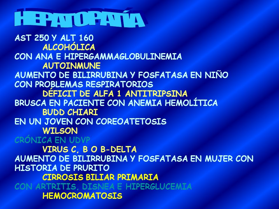 HEPATOPATÍA AST 250 Y ALT 160 ALCOHÓLICA