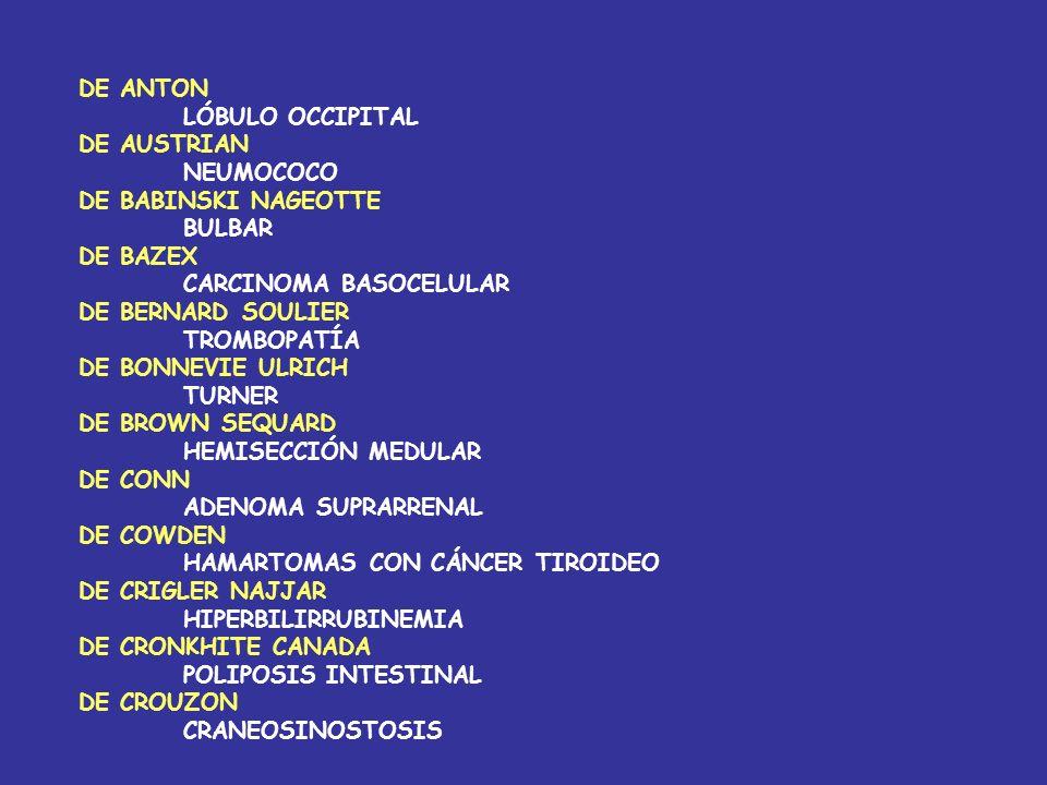 DE ANTON LÓBULO OCCIPITAL. DE AUSTRIAN. NEUMOCOCO. DE BABINSKI NAGEOTTE. BULBAR. DE BAZEX. CARCINOMA BASOCELULAR.